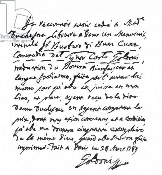"""CARLO GOLDONI (1707-1793) Italian playwright. Contract written by him in 1789 selling the rights of his play, """"Il Burbero di Buon Cuore,"""" to Madame Duchesne, a Parisian bookseller."""