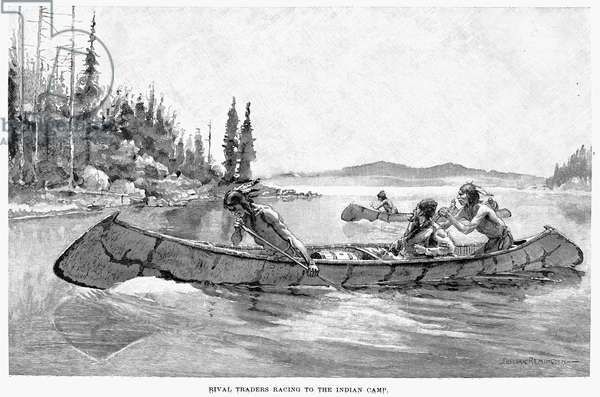 CANADA: FUR TRADE 'Rival traders racing to the Indian camp.' Wood engraving, 1891, after Frederic Remington.