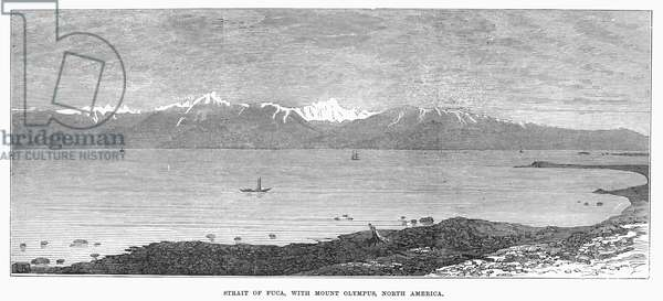STRAIT OF JUAN de FUCA The strait forming part of the boundary between the United States and Canada. Mount Olympus in the state of Washington is in the background. Wood engraving, English, 1872.