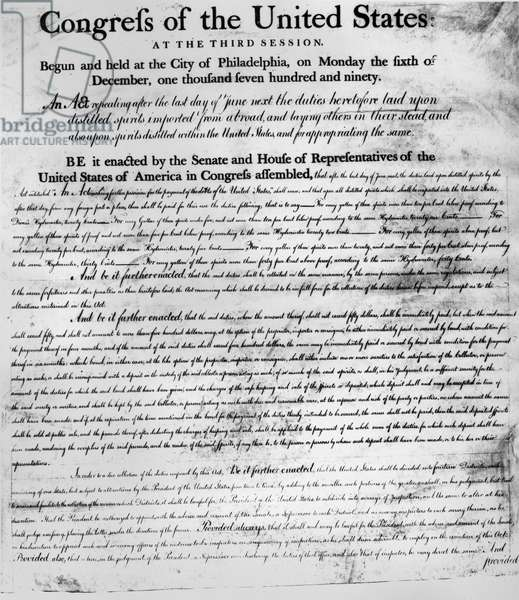 SPIRITS DUTIES ACT, 1791 First page of an act of Congress, 6 December 1791, repealing duty on imported spirits and imposing taxes on spirits distilled in the United States.