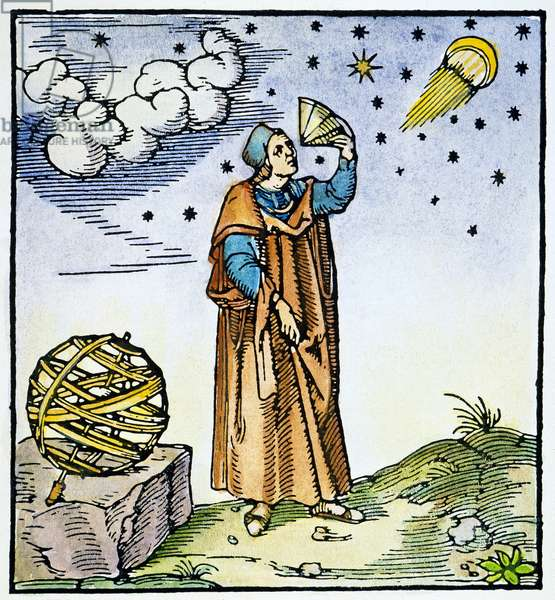 PTOLEMY (2nd CENTURY A.D.) Astronomer, mathematician, and geographer of Alexandria. With his celestial sphere. Color woodcut, Venetian, 1547.