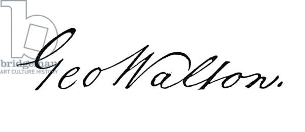 GEORGE WALTON (1741-1804) American lawyer and political leader. Walton's autograph signature on the U.S. Declaration of Independence, 1776.