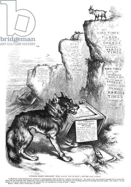 "NAST: TILDEN CARTOON, 1876 'Governor Tilden's Democratic ""Wolf (Gaunt and Hungry"") and the Goat (Labor).' Cartoon by Thomas Nast, 1876, critical of Senator Samuel J. Tilden's management of labor and money."