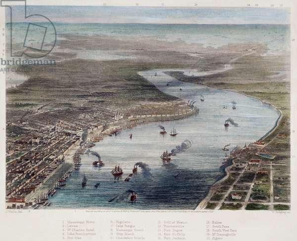 NEW ORLEANS Bird's-Eye view of New Orleans. Steel engraving, American, 1863.