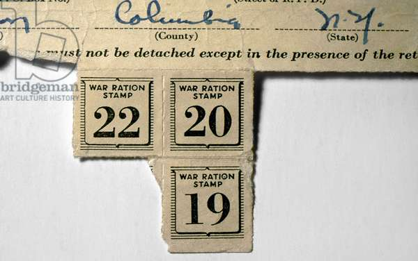 WAR RATION STAMPS, c.1943 American ration stamps issued during World War II to a resident of Columbia County, New York, c.1943.