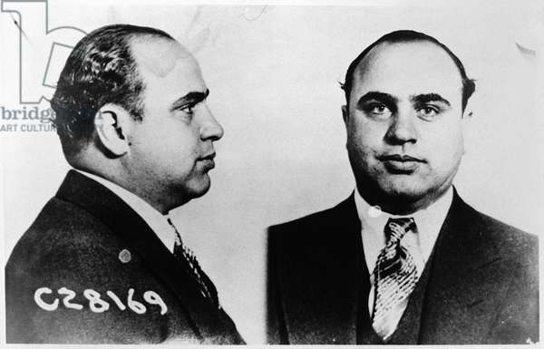 ALPHONSE CAPONE (1899-1947) American gangster. Photographed in a mugshot from 1931.