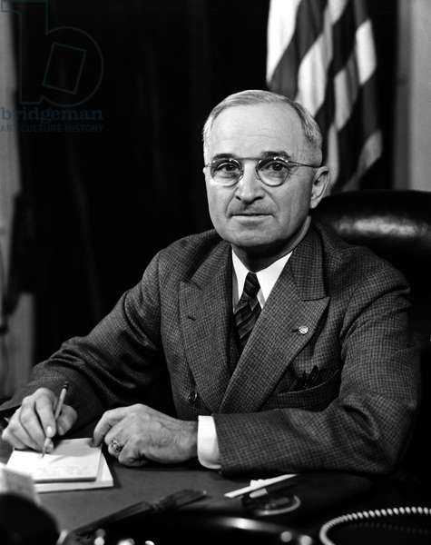 HARRY S. TRUMAN (1884-1972). 33rd President of the United States. Photographed 1945.