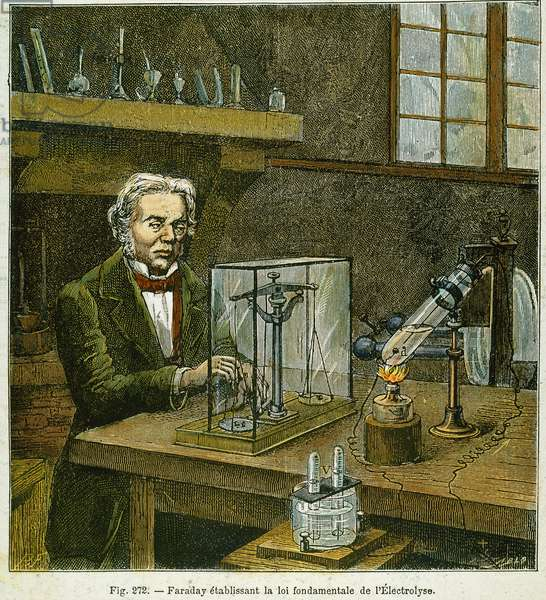 MICHAEL FARADAY (1791-1867) establishing the fundamental law of electrolysis: coloured  engraving, 19th century.