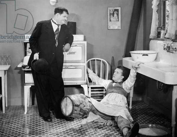 LAUREL AND HARDY Oliver Hardy (left) and Stan Laurel in a scene from 'Helpmates,' 1931.