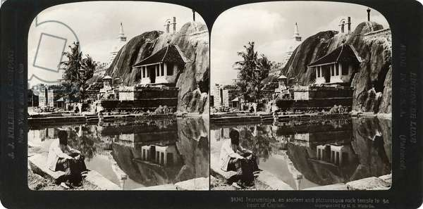 CEYLON: ISURUMUNIYA, 1907 'Isurumuniya, an ancient rock temple in the heart of Ceylon.' Stereograph, 1907.