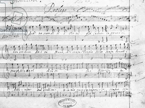 CLAUDIO MONTEVERDI  (1567-1643). Italian composer. Manuscript page, in his own hand, of his 'L'Incornazione di Poppea,' 1642.