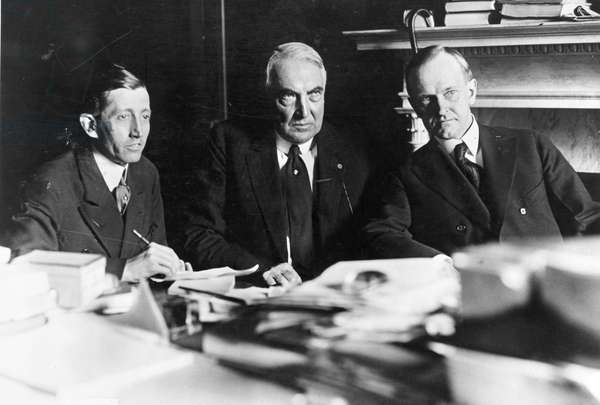 HAYS, HARDING, AND COOLIDGE United States Postmaster General Will H. Hays, President Warren G. Harding and Vice President Calvin Coolidge. Photograph, c.1921.