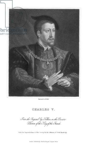 CHARLES V (1500-1558) Holy Roman Emperor (1519-1556) and King of Spain as Charles I (1516-1556). Stipple engraving, English, 19th century, after Hans Holbein the Younger.