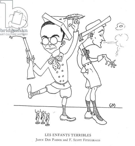 MARKEY: CARICATURE 'Les Enfants Terribles.' Caricature of American authors, F. Scott Fitzgerald and John Dos Passos by Gene Markey, 1923.