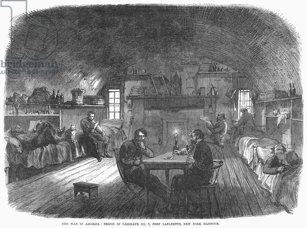 CIVIL WAR: NEW YORK PRISON Prisoners in Casemate No. 2 in Fort Lafayette, New York Habor, used during the American Civil War to house Confederate and political prisoners. Wood engraving, English, 1865.