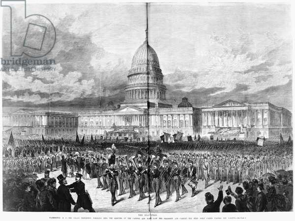 GRANT'S INAUGURATION, 1873 The second inauguration of President Ulysses S. Grant on 4 March 1873. Contemporary wood engraving.