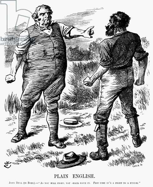 """BOER WAR CARTOON, 1899 'Plain English: John Bull (to Boer) - """"As you will fight, you shall have it. This time it's a fight to a finish.""""' Contemporary English cartoon by John Tenniel, 1899."""