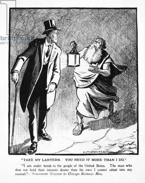 WILSON CARTOON, 1913 Cartoon featuring President Woodrow Wilson by Louis M. Glackens in 'Puck' 1913.