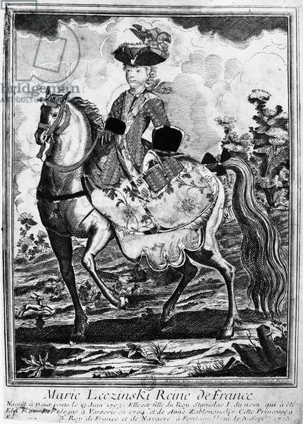 MARQUISE DE POMPADOUR (1721-1764). Née Jeanne-Antoinette Poisson. Mistress of King Louis XV of France. Madame le Pompadour in riding costume on horseback. Line engraving, 18th century.
