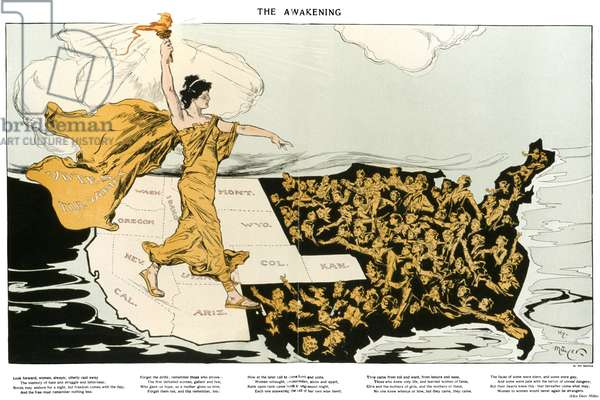 WOMEN'S SUFFRAGE, 1915 'The Awakening.' American cartoon, 1915, by Henry Mayer, showing an allegorical representation of the suffrage cause striding across the western states, where women already had the right to vote, toward the east, where women are reaching out to her. Printed below the cartoon is a poem by Alice Duer Miller.