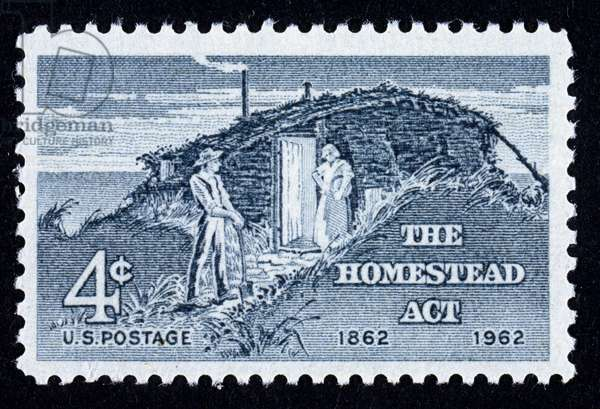 HOMESTEAD ACT commemorated on U.S. postage stamp, 1962.
