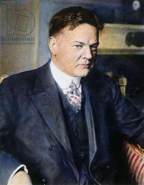 HERBERT HOOVER (1874-1964) 31st President of the United States. Oil over a photograph, 1928.