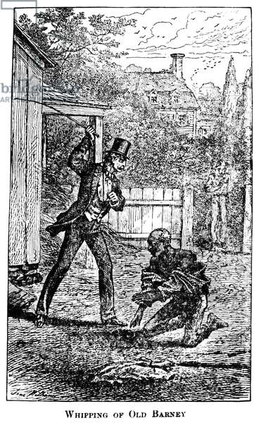 SLAVERY: WHIPPING 'Whipping of Old Barney.' Engraving from 'Life and Times of Frederick Douglass' by Frederick Douglass, 1881.