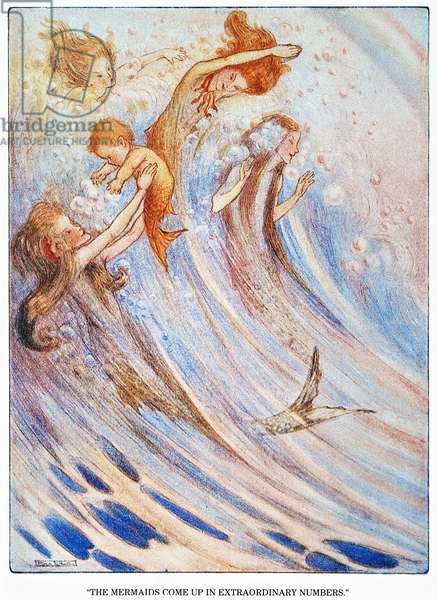 BARRIE: PETER PAN 'The mermaids come up in extraordinary numbers to play with their bubbles.' Illustration by Flora White for an early edition of Sir James M. Barrie's 'Peter Pan.'