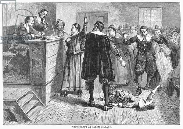 SALEM WITCH TRIALS, 1692 The trial of a 'witch' at Salem, Massachusetts, in 1692. Wood engraving, 19th century.