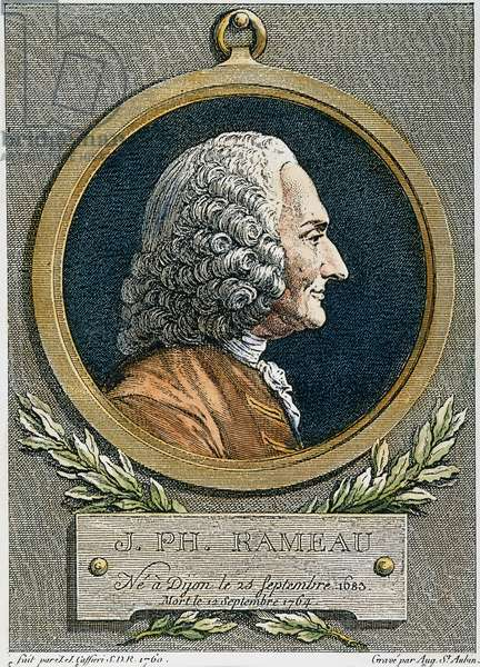JEAN PHILIPPE RAMEAU (1683-1764). French composer and music theorist. Copper engraving, 1762, by Augustin de Saint-Aubin after a bust, 1760, by Jean-Jacques Caffieri.