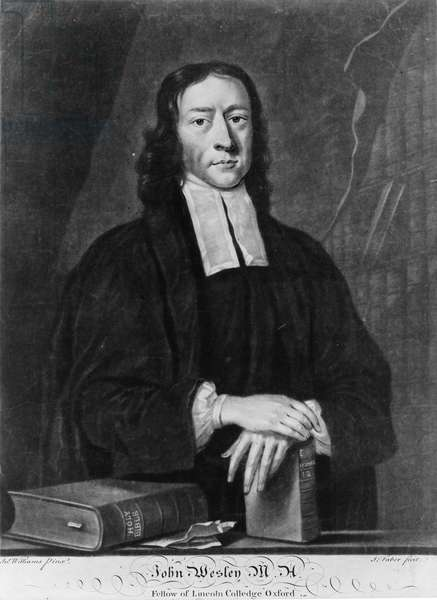 JOHN WESLEY (1703-1791) English theologian and founder of Methodism. Mezzotint by John Faber, c.1730-1756.