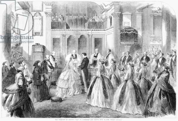 ROYAL WEDDING, 1866 'The marriage of Princess Mary of Cambridge and Prince Teck in Kew Church.' Engraving, 1866.
