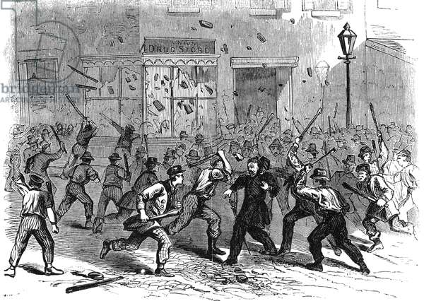 CIVIL WAR: DRAFT RIOTS An unruly mob during the New York City Draft Riots of July 13-16, 1863: wood engraving from a contemporary German-language American newspaper.