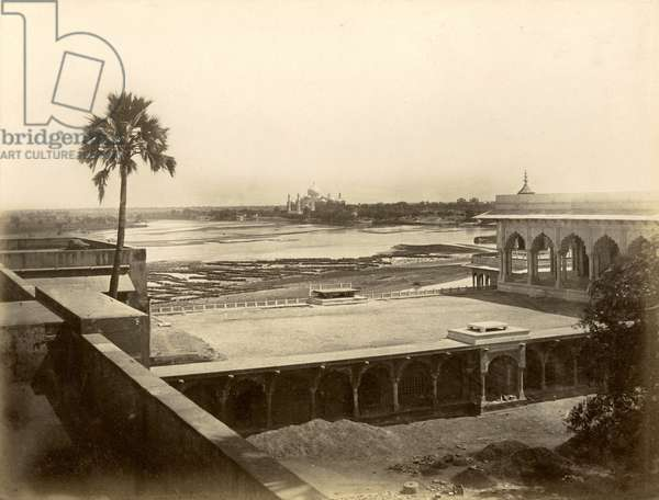 INDIA: VIEW OF TAJ MAHAL View of the Taj Mahal from Agra Fort, in the state of Uttar Pradesh. Photographed, c.1890.