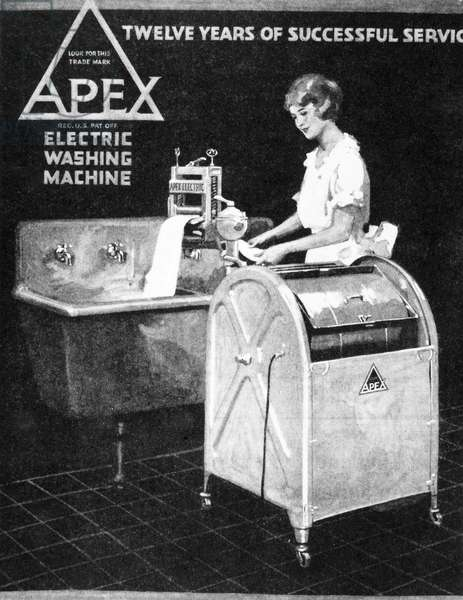 APEX WASHING MACHINE, 1920 Detail of an advertisement for Apex Electric Washing Machine from an American magazine of 1920.