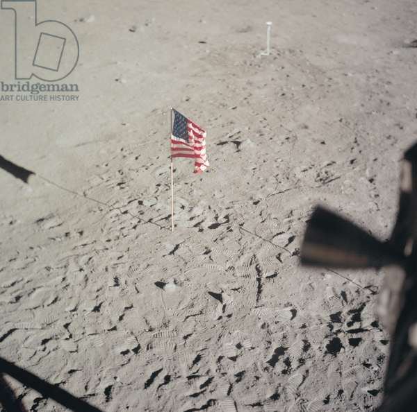 APOLLO 11: FLAG, 1969 The American flag left on the surface of the moon by Apollo 11 astronauts Neil Armstrong and Edwin 'Buzz' Aldrin. Photograph, 20 July 1969.