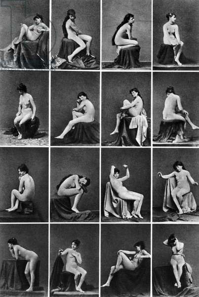 NUDE POSING, c.1875 A series of nude studies. Photographed c.1875.