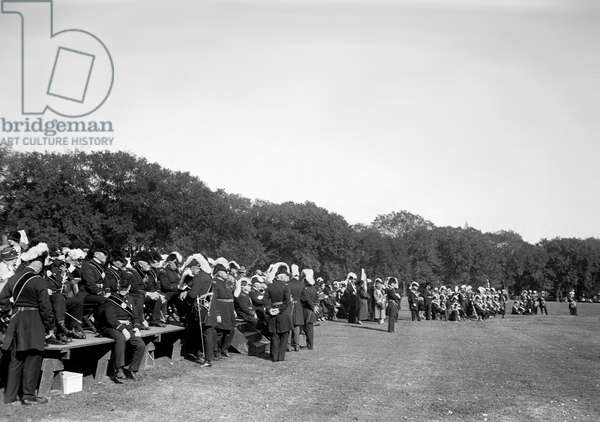 KNIGHTS TEMPLAR: FIELD DAY Members of the Knights Templar Masonic Order, gathered for their annual field day in Washington, D.C., c.1924.