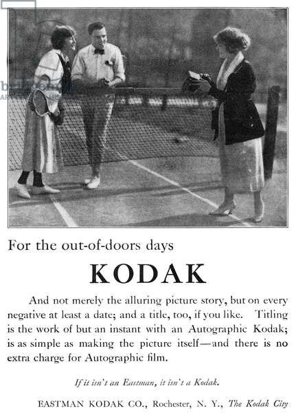 AD: KODAK, 1920 American advertisement for Kodak. Photograph, 1920.