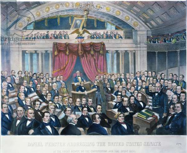 DANIEL WEBSTER (1782-1852) American lawyer and statesman. Addressing the United States Senate in the great debate on the Constitution and the Union, 1850. American lithograph, 1860.