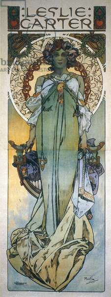 MUCHA: THEATRICAL POSTER Mrs. Leslie Carter (1862-1937) on a poster by Alphonse Mucha for her 1909 Broadway production of 'Kassa.'