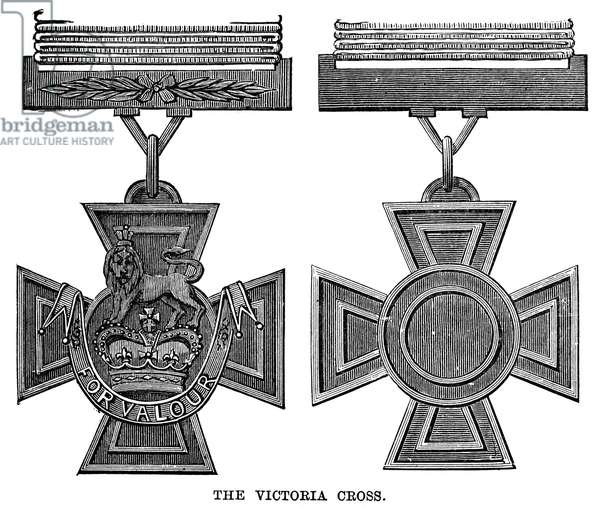 VICTORIA CROSS, 1856 The Victoria Cross, instituted by Queen Victoria in the Royal Warrant of 29 January 1856. Line engraving.