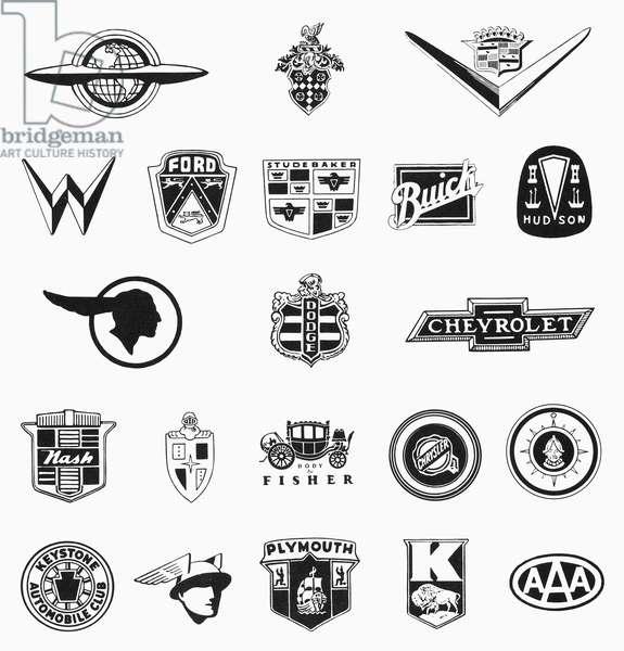 AMERICAN AUTO COMPANIES Logos of various American auto companies.