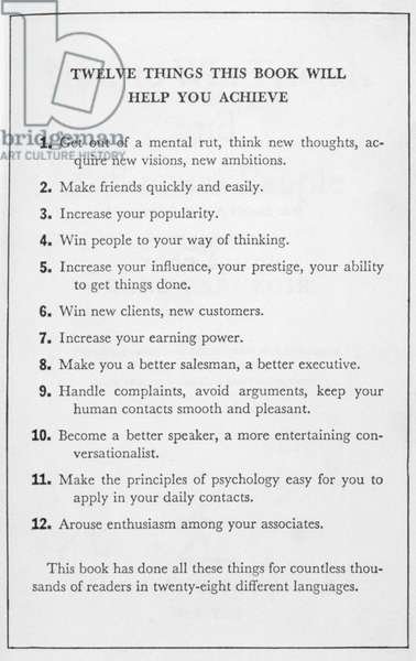 HOW TO WIN FRIENDS, 1936 Back cover of 'How to Win Friends and Influence People' by Dale Carnegie, 1936.