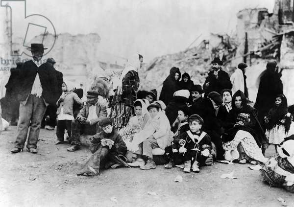 SICILY: REFUGEES, c.1909 Survivors gathered together, following the earthquake in Messina, Sicily, Italy on 28 December 1908.