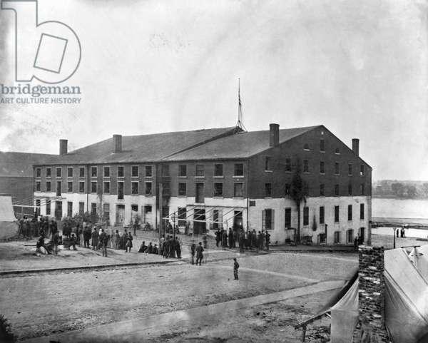 CIVIL WAR: PRISON CAMP The Confederate Libby Prison at Richmond, Virginia.
