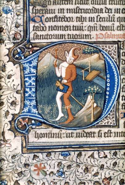 FOOL ON HOBBY HORSE Illuminated initial 'D' from an English psalter, late 14th century.