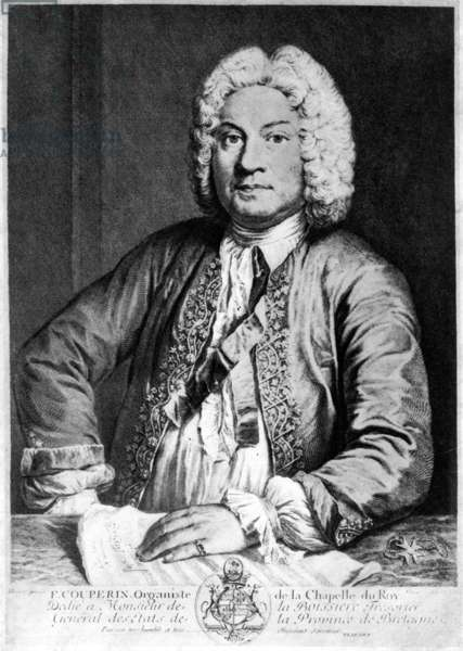 FRANCOIS COUPERIN (1668-1733). French composer and organist. Copper engraving, 1725, by Joseph Flipart after A. Bouys.