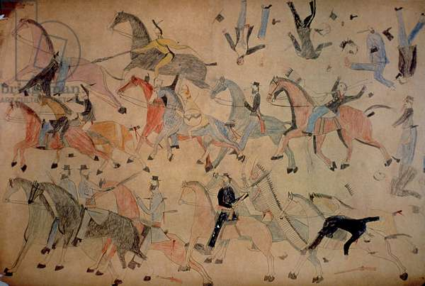 BATTLE OF LITTLE BIGHORN Custer's column fighting at Little Bighorn: pictograph, 1881, by Red Horse, a Sioux Chief.