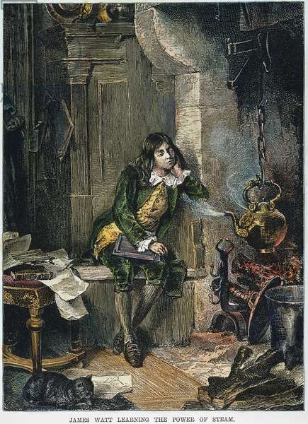 JAMES WATT (1736-1819) Scottish engineer and inventor. Observing the power of steam: engraving, 19th century.